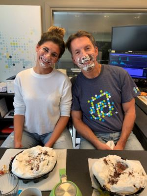 Scott and Tiffany get pie in the face during a facebook live